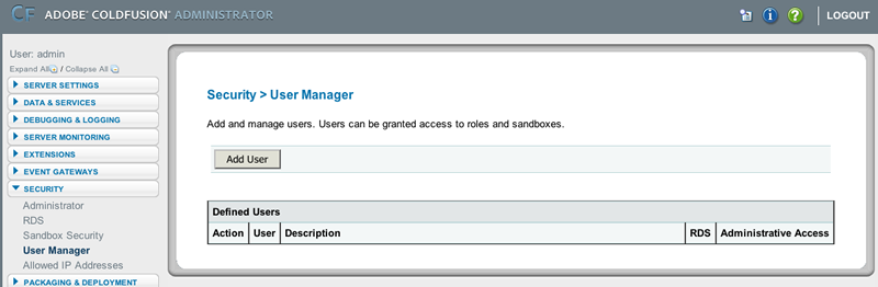 adding a user to the security manager