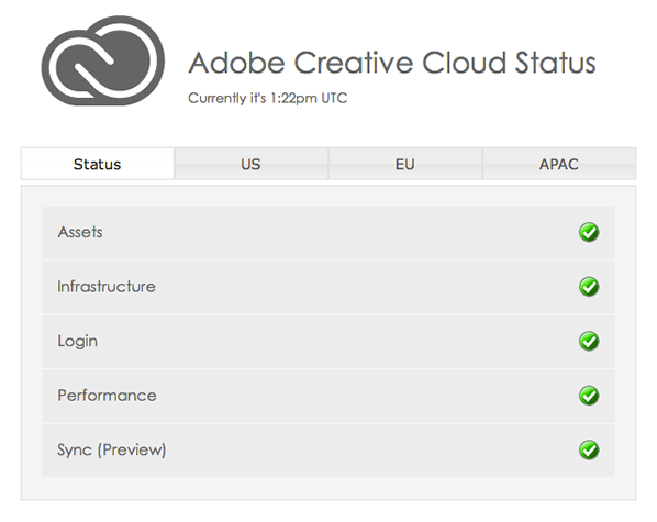 Adobe Creative Cloud Status
